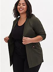 Forest Green Crepe Open Front Jacket, ROSIN, hi-res