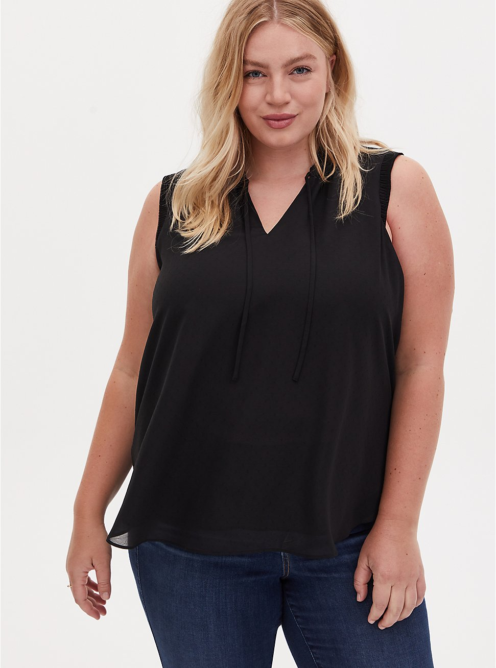 Black Dobby Chiffon Pleated Tank, DEEP BLACK, hi-res