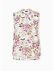 White Floral Dobby Chiffon Pleated Tank, FLORAL - WHITE, hi-res