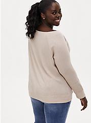Light Taupe Burnout Off Shoulder Sweatshirt, CHATEAU GRAY, alternate