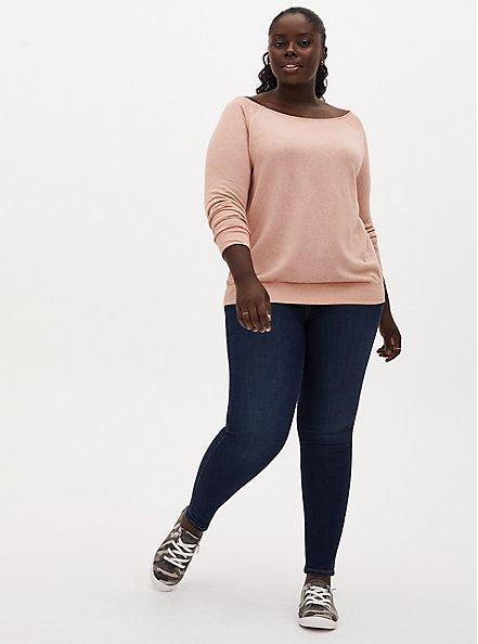 Peach Burnout Off Shoulder Sweatshirt , PEACH BEIGE, alternate