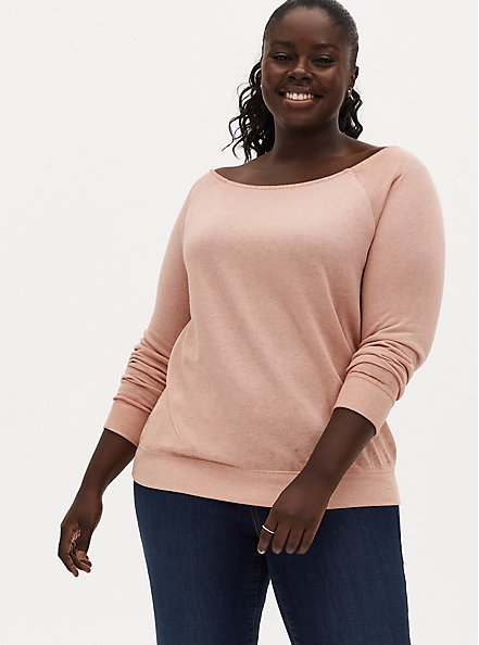 Peach Burnout Off Shoulder Sweatshirt , PEACH BEIGE, hi-res