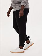 Studio Ponte Slim Fix Black Lace-Up Pull-On Crop Pixie Pant, DEEP BLACK, alternate