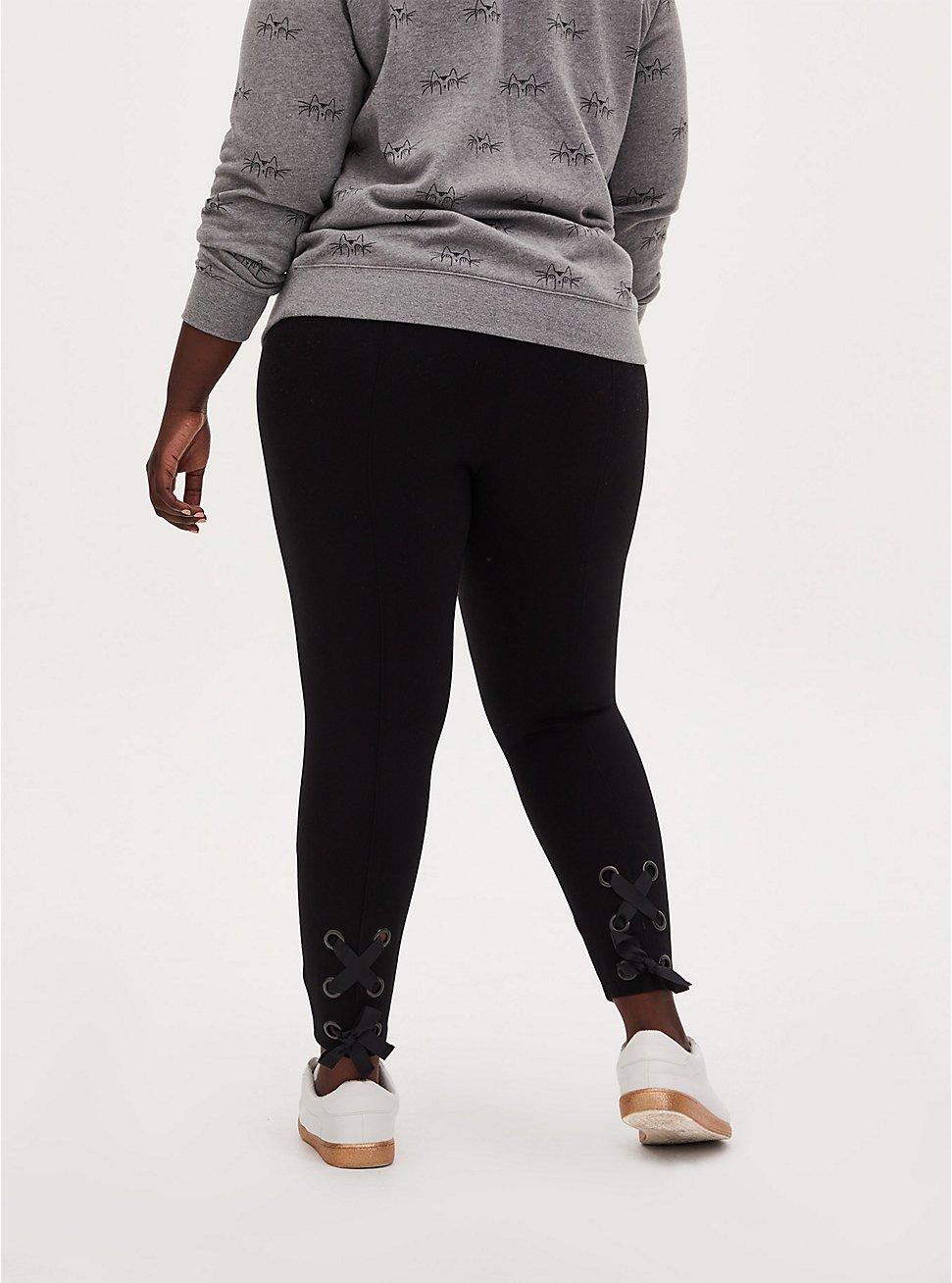 Studio Ponte Slim Fix Black Lace-Up Pull-On Crop Pixie Pant, DEEP BLACK, hi-res