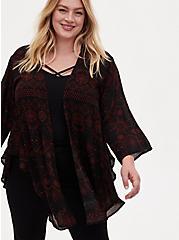 Black & Red Eclipse Georgette Shirttail Kimono , CELESTIAL, hi-res