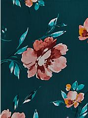 Teal Floral Crinkled Chiffon Ruffle Trim Hi-Lo Kimono, FLORAL - TEAL, alternate