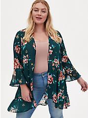 Teal Floral Crinkled Chiffon Ruffle Trim Hi-Lo Kimono, FLORAL - TEAL, hi-res