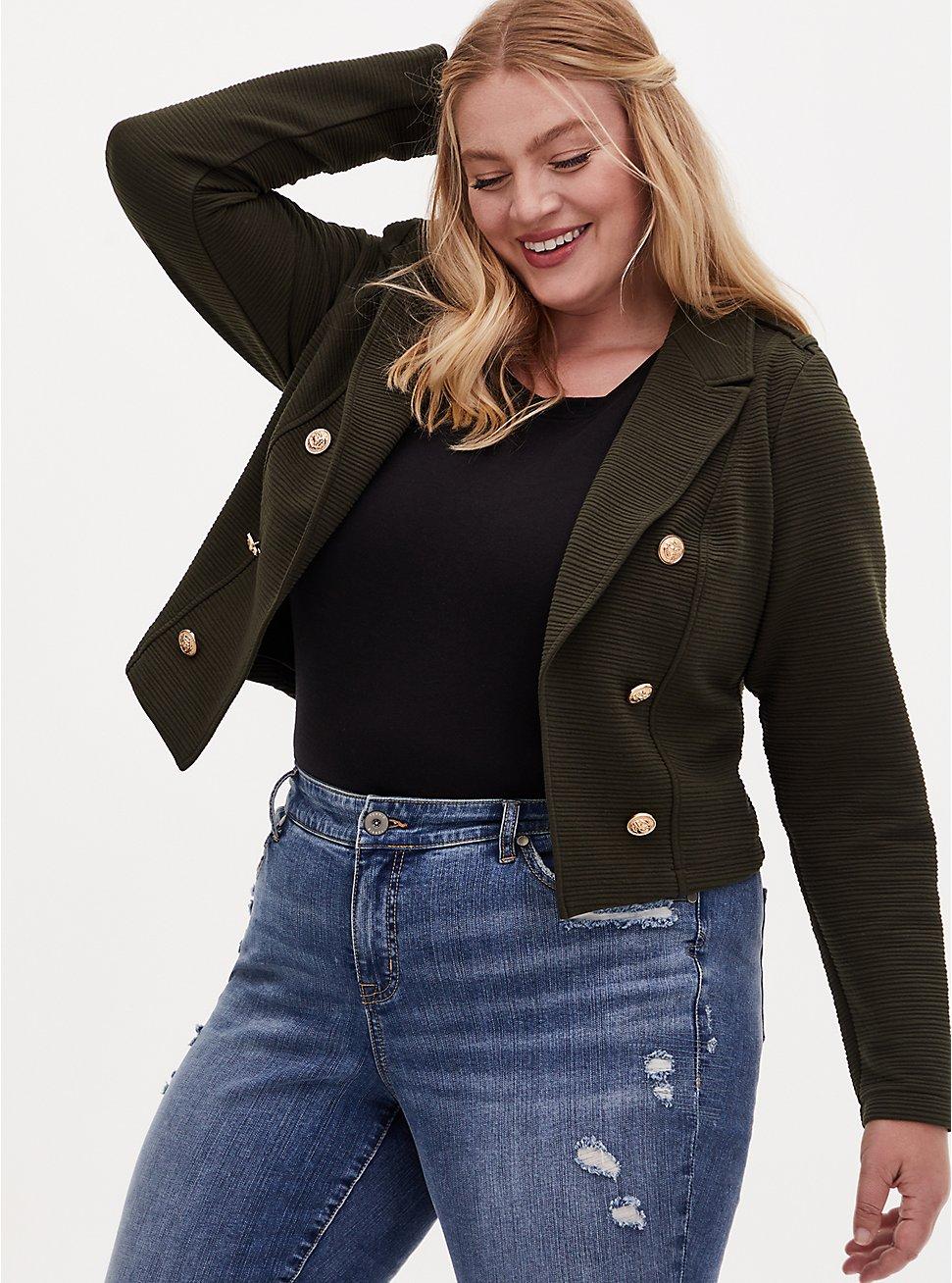 Olive Green Rib Premium Ponte Crop Military Jacket, DEEP DEPTHS, hi-res