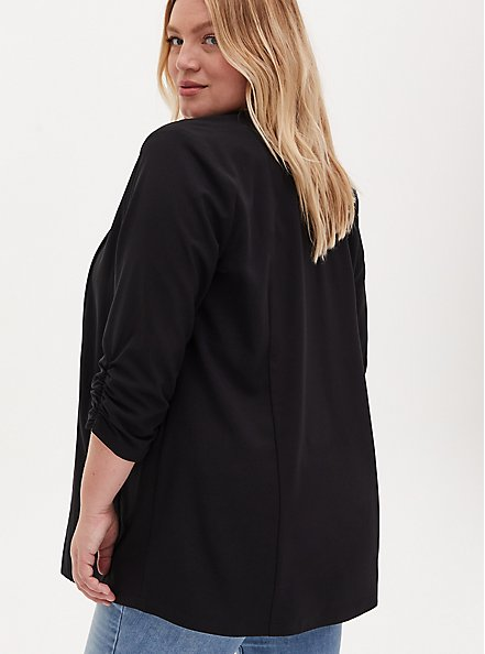 Black Crepe Open Front Jacket, DEEP BLACK, alternate
