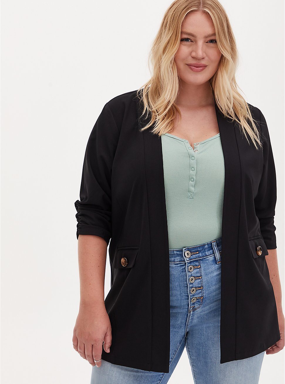 Black Crepe Open Front Jacket, DEEP BLACK, hi-res