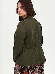 Olive Green Twill Open Front Drawstring Anorak, DEEP DEPTHS, alternate