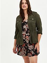 Plus Size Olive Green Twill Open Front Drawstring Anorak, DEEP DEPTHS, hi-res
