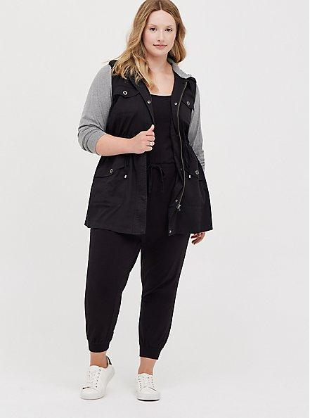 Black Twill & Grey Jersey Drawstring Anorak, DEEP BLACK, alternate