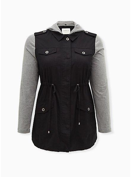 Black Twill & Grey Jersey Drawstring Anorak, DEEP BLACK, hi-res
