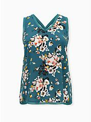 Plus Size Teal Floral Georgette Raw Chiffon Trim Tank, FLORAL - GREEN, hi-res