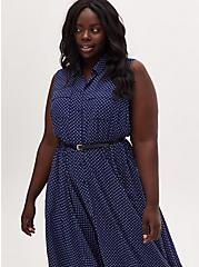 Navy & White Polka Dot Hearts Challis Handkerchief Shirt Dress, HEARTS-NAVY, alternate