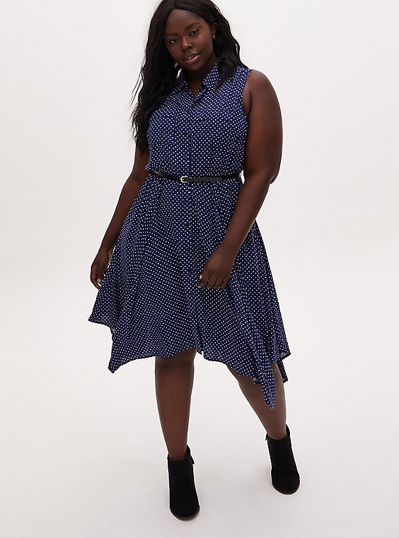 Navy & White Polka Dot Hearts Challis Handkerchief Shirt Dress, , hi-res