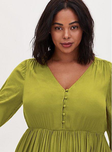 Mustard Yellow Satin Button Tea Length Dress, CHARTREUSE, alternate