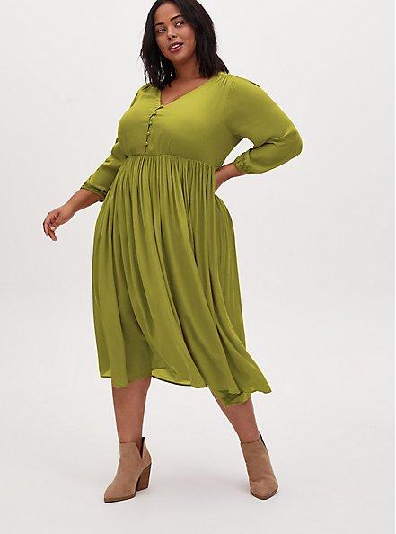 Mustard Yellow Satin Button Tea Length Dress, CHARTREUSE, hi-res