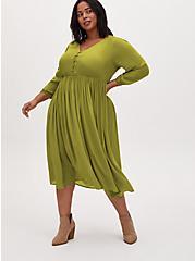 Plus Size Chartreuse Satin Button Tea Length Dress, CHARTREUSE, hi-res
