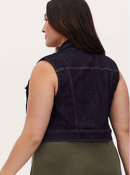Crop Denim Vest - Dark Wash, DARK WASH, alternate