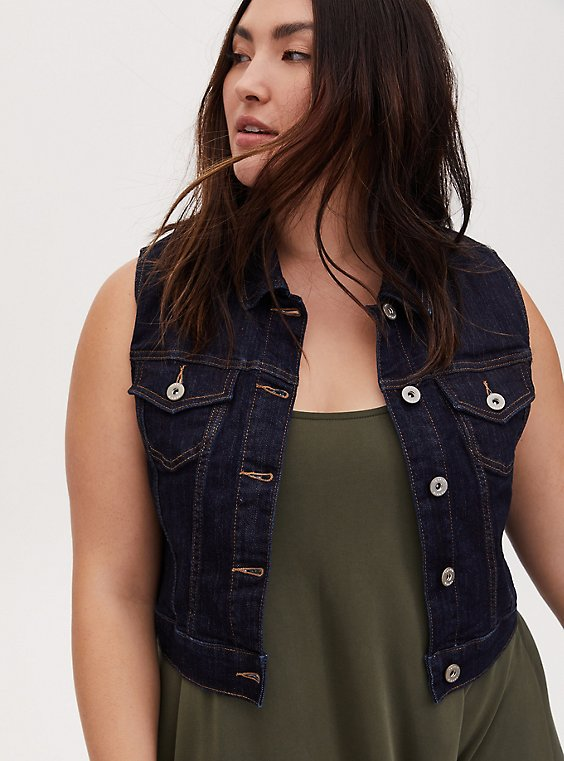 Crop Denim Vest - Dark Wash, , hi-res