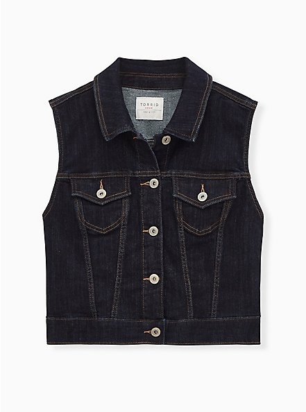 Crop Denim Vest - Dark Wash, DARK WASH, hi-res