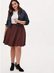 Rust Brown Premium Ponte Mini Skirt, DEEP MAHOGANY, alternate