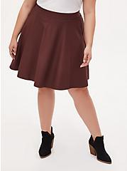 Rust Brown Premium Ponte Mini Skirt, DEEP MAHOGANY, hi-res