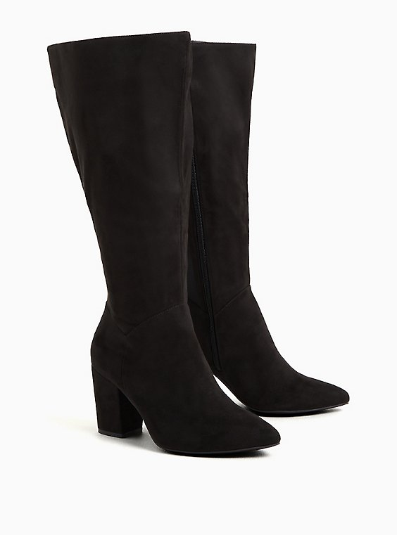 Black Faux Suede Pointed Toe Knee-High Boot (WW & Wide to Extra Wide Calf), , hi-res