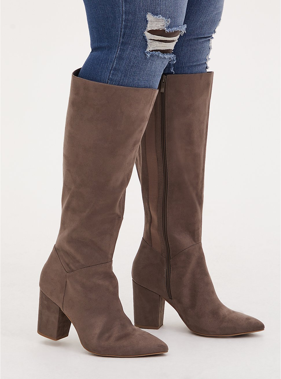 Taupe Faux Suede Pointed Toe Knee-High Boot (WW & Wide to Extra Wide Calf), TAN/BEIGE, hi-res