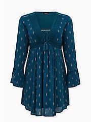 Teal Blue Print Motif Gauze Lace-Up Peasant Dress, MOTIF - TEAL, hi-res