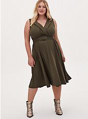 Olive Green Twill Belted Midi Dress, DEEP DEPTHS, hi-res