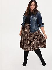 Leopard Challis Button Front Midi Skirt, MIDI LEOPARD, alternate