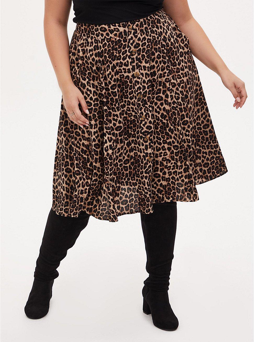 Leopard Challis Button Front Midi Skirt, MIDI LEOPARD, hi-res