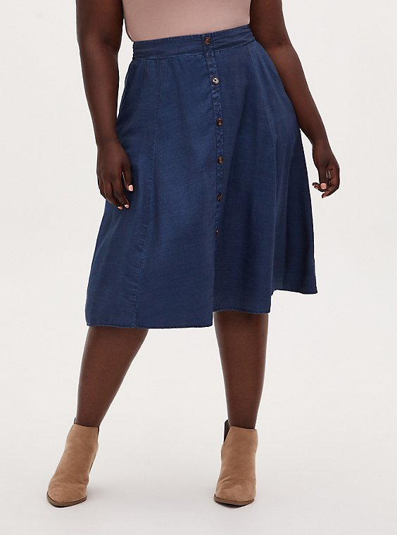 Plus Size Dark Blue Chambray High Waist Button Midi Skirt , DARK WASH, hi-res
