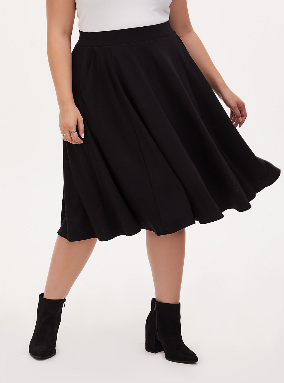 Black Premium Ponte Midi Skirt , DEEP BLACK, hi-res