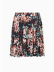Grey Floral Jersey Mini Skater Skirt, FLORALS-GREY, hi-res