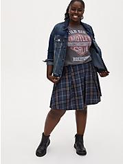 Navy Plaid Twill Pleated Mini Skirt, PLAID - BLUE, alternate
