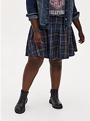 Navy Plaid Twill Pleated Mini Skirt, PLAID - BLUE, hi-res