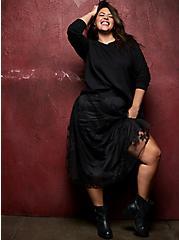 Black Mesh Embroidered Midi Skirt , DEEP BLACK, hi-res
