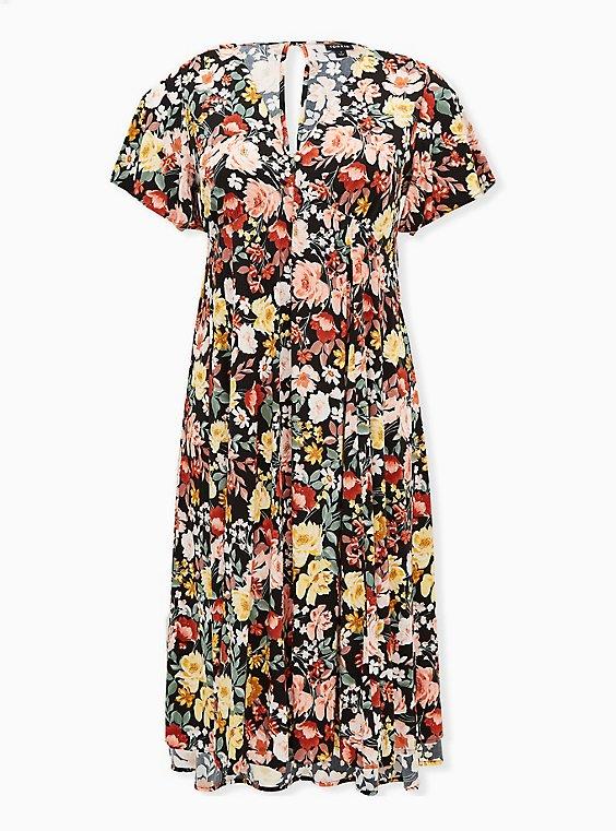 Black Floral Challis Button Front Midi Dress, , flat