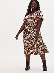 Black Floral Challis Button Front Midi Dress, FLORAL - BLACK, hi-res