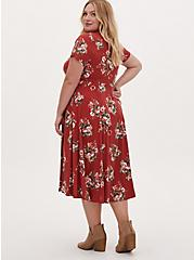 Red Terracotta Floral Challis Button Midi Dress, FLORAL - ORANGE, alternate
