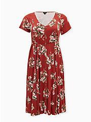 Red Terracotta Floral Challis Button Midi Dress, FLORAL - ORANGE, hi-res