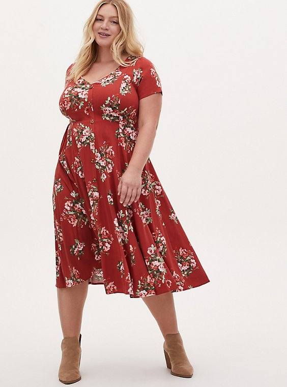 Red Terracotta Floral Challis Button Midi Dress, FLORAL - ORANGE, hi-res
