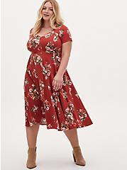Plus Size Red Terracotta Floral Challis Button Midi Dress, FLORAL - ORANGE, hi-res