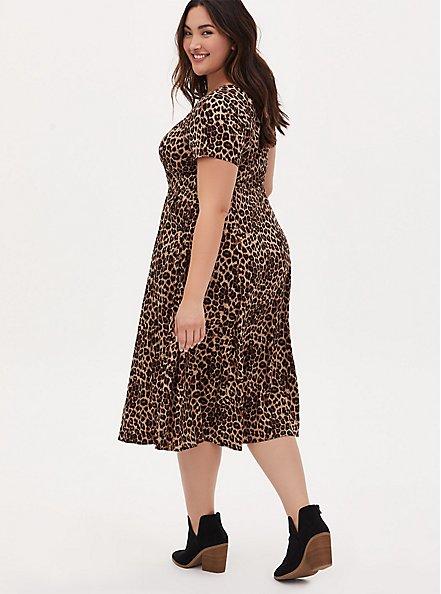Plus Size Leopard Challis Button Midi Dress, MIDI LEOPARD, alternate