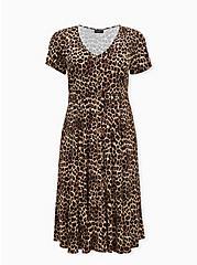 Leopard Challis Button Midi Dress, MIDI LEOPARD, hi-res