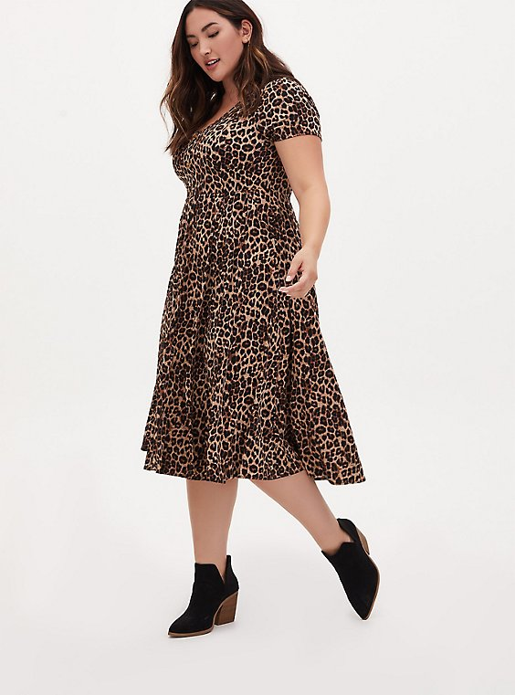 Leopard Challis Button Midi Dress, MIDI LEOPARD, hi-res